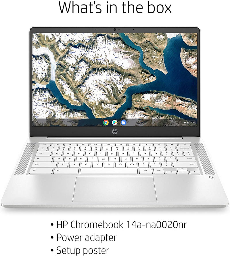 "HP CHROMEBOOK 14"" HD N4000 4 32GB EMMC Ceramic White 14a-na0020nr W10"