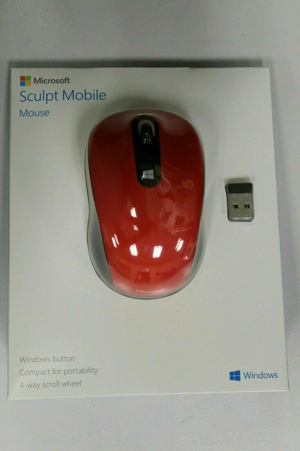 Microsoft 43U-00023 Sculpt Mobile Wireless Comfort Mouse Red New Sealed