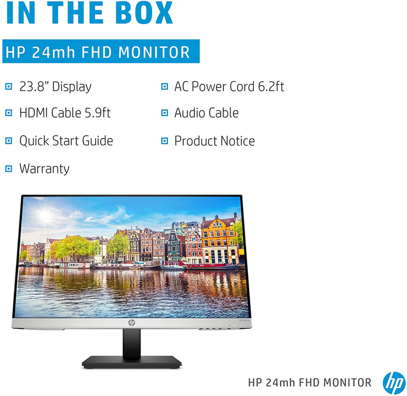 HP 24mh Monitor 23.8 inch FHD - Speakers and VESA Mounting - 1D0J9AA