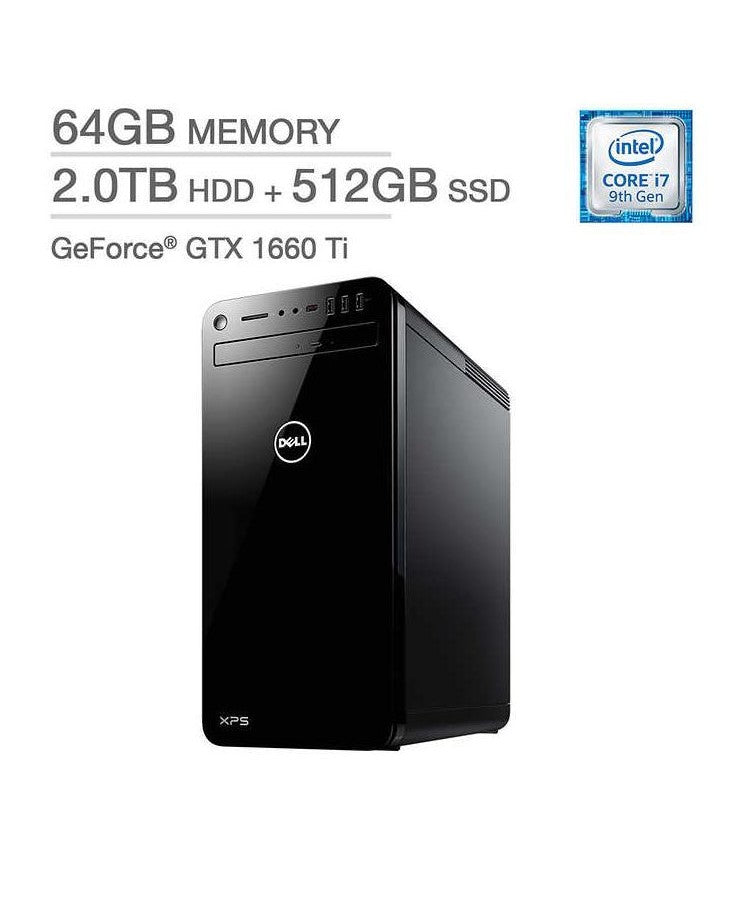 DELL XPS 8930 DESKTOP i7-9700 64 2TB HDD 512GB SSD GTX 1660Ti WIN 10 HOME