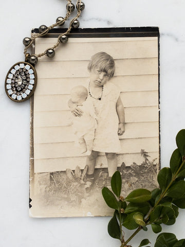 Old photo with repurposed antique earring necklace
