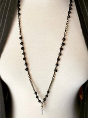 Black onyx and silver hand stitched lanyard