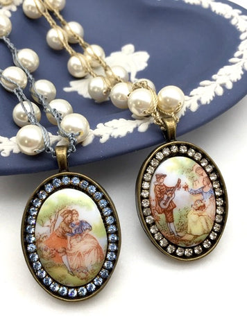 Painted porcelain vintage pieces with rhinestones and pearls
