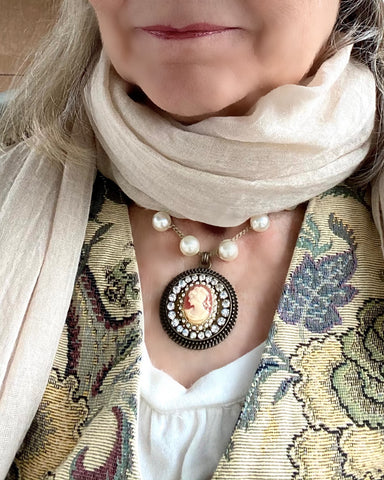 Vintage cameo Pearl necklace worn with scarf