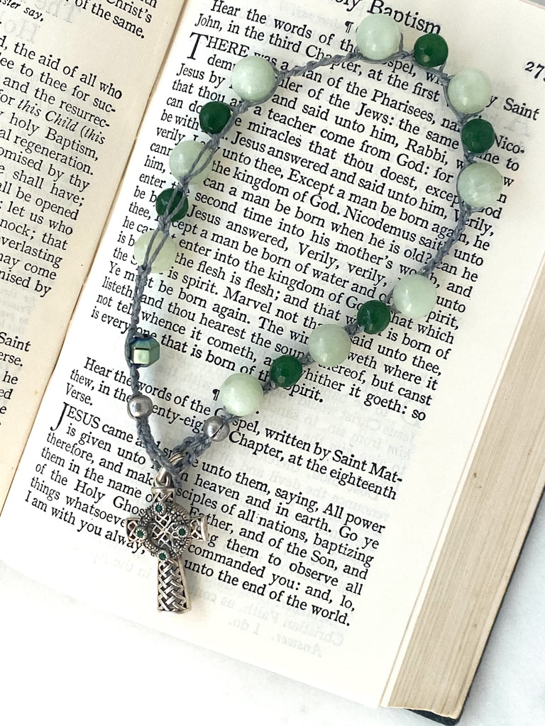 Green jade chaplet with sterling cross