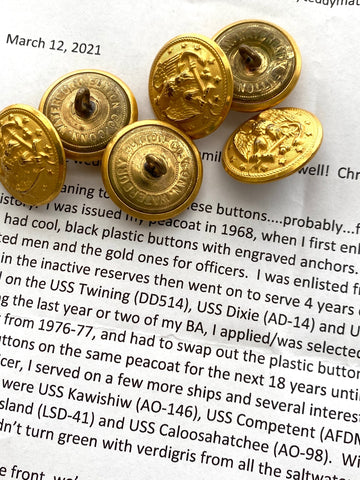 Vintage US Navy gold military buttons