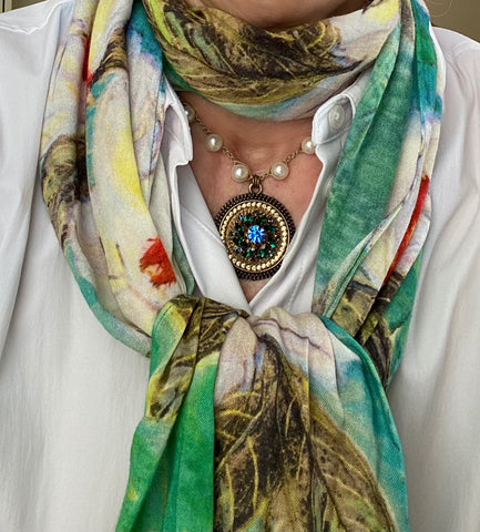 Green scarf with vintage repurposed necklace
