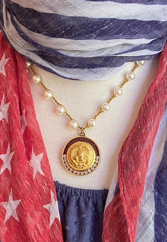 US Navy button necklace with scarf