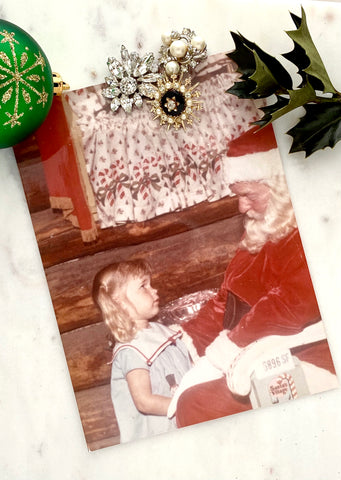 Christmas photo with Santa and vintage costume jewelry