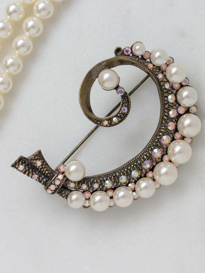 antique pink and pearl brooch pin