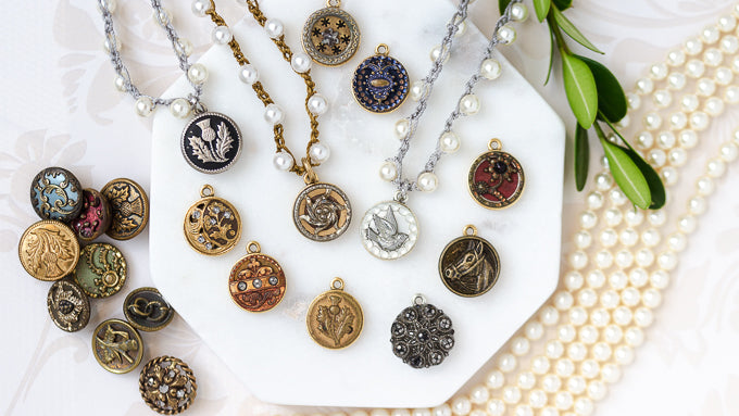 petite antique buttons and pearls
