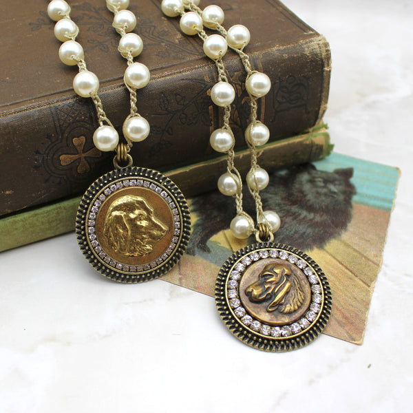 Antique Dog Button Necklace with Hand-Stitched Pearl Chain