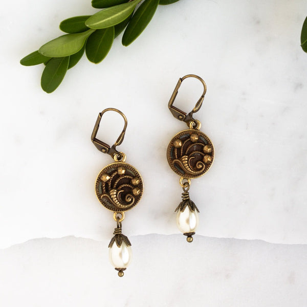 Antique Victorian Button (c. 1890-1910) Earrings-Cornucopia Design with Pearl Drops