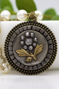 black antique flower button necklace