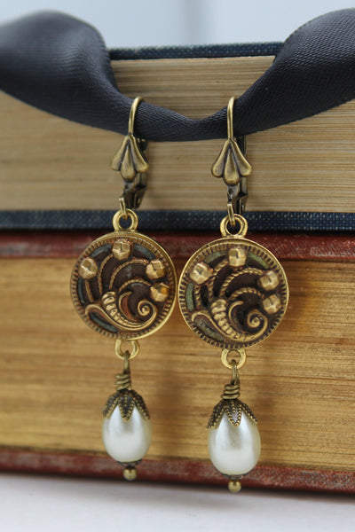 antique button cornucopia earrings with pearl dangles