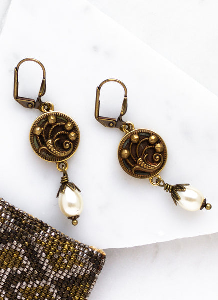 antique button cornucopia earrings