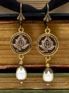 antique button floral earrings with drop pearls