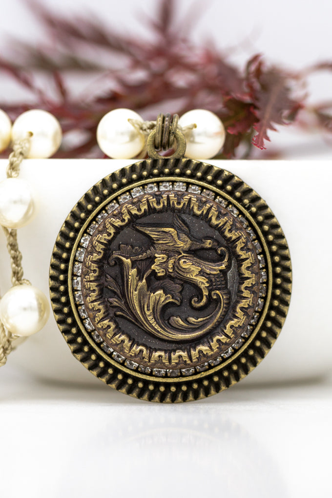 Vintage Dragon Button Necklace with Hand-Stitched Pearl Chain