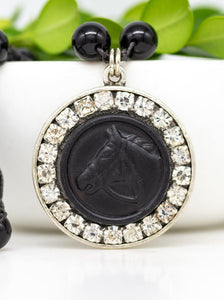 Vintage Black Leather Button Necklace with Hand-Stitched Onyx Stone Chain