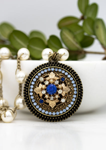 sapphire blue crystal and gold necklace with swarovski pearls