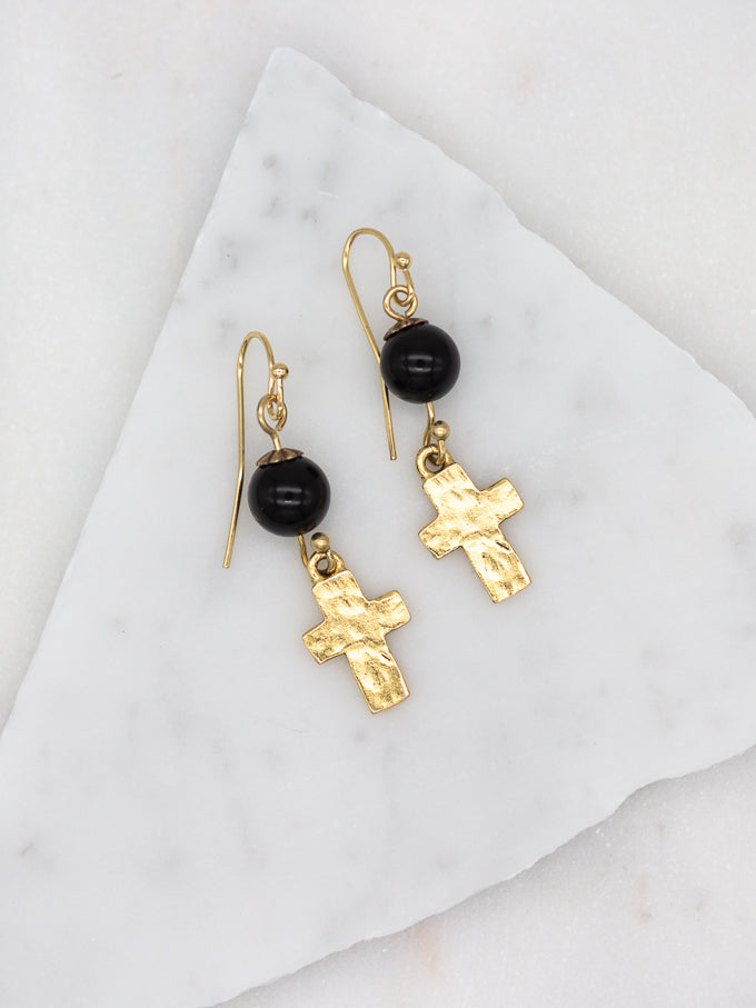 Hammered Cross with Black Onyx Gold Earrings