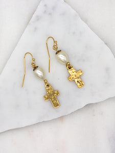 Hammered Cross Teardrop Pearl Gold Earrings