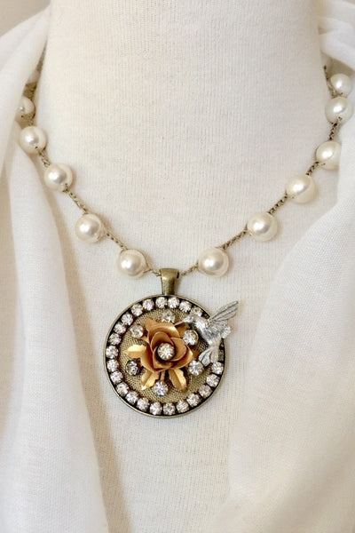 Vintage Hummingbird Statement Necklace with Hand-Stitched Pearls