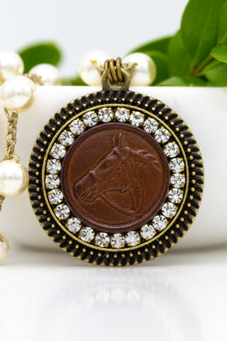 Vintage Leather Horse Button Necklace with Hand-Stitched Pearl Chain