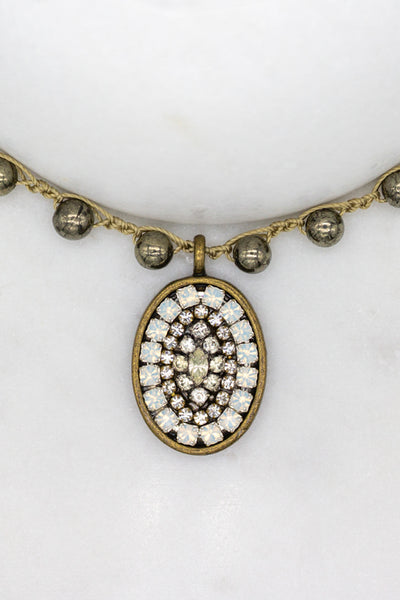 Repurposed Antique Rhinestone Necklace with Opals and Hand-Stitched Pyrite Stone Chain