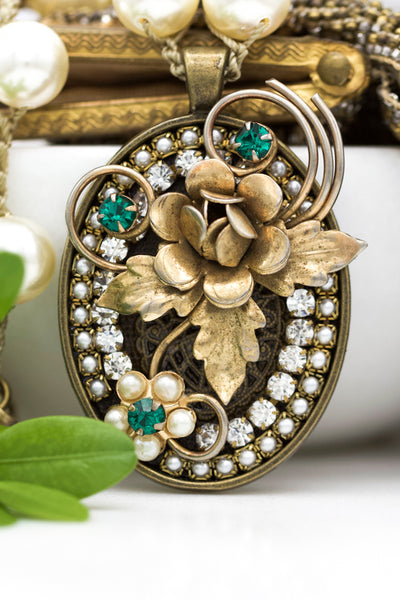 Repurposed Statement Necklace with Vintage Gold Flower and Emerald Green Stones
