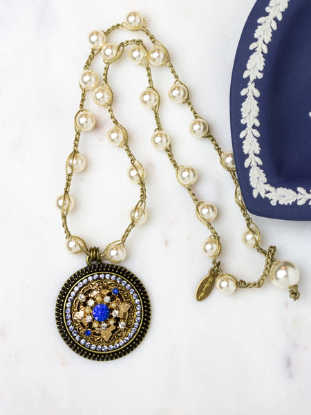 royal blue and gold necklace with Swarovski pearls
