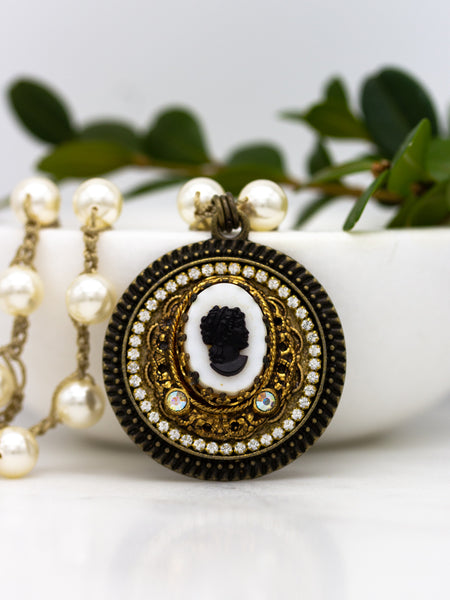 vintage black and white cameo repurposed necklace