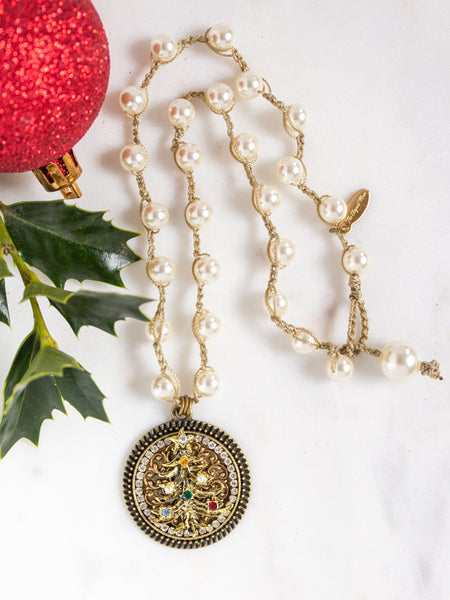 christmas tree vintage necklace with pearls