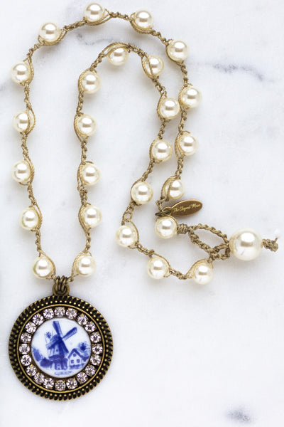 Porcelain Windmill Necklace with Hand-Stitched Swarovski Pearl Chain