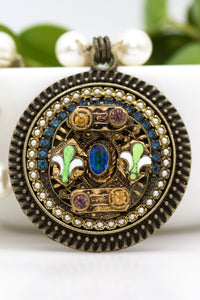 Vintage Fleur de Lis Necklace with Teal, Gold, Amethyst, and Green Stones