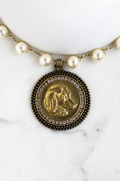antique dog button necklace with crochet pearl chain