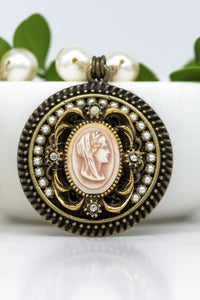 Vintage Grecian Cameo Necklace with Hand-Stitched Swarovski Pearl Chain
