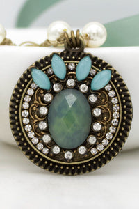 Repurposed Teal-Jade Necklace with Hand-Stitched Swarovski Pearl Chain