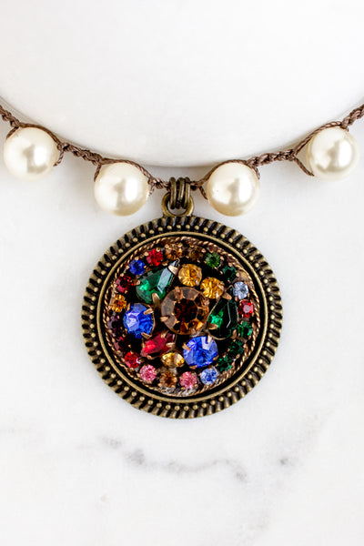 jewel toned rhinestone necklace