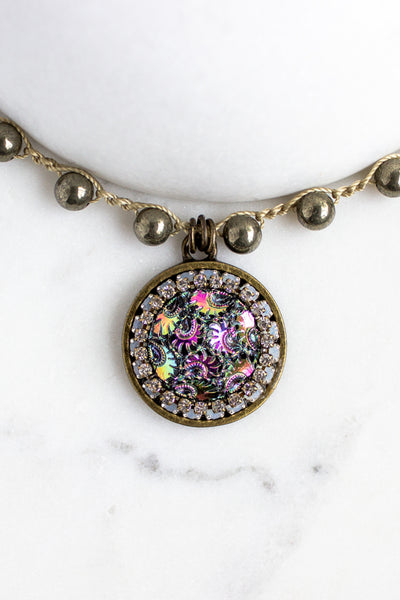 Vintage Multi-Colored Button Necklace with Hand-Stitched Pyrite Stone Chain