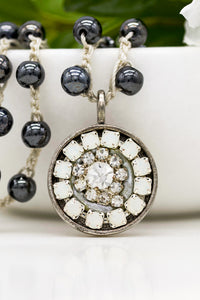 Vintage Rhinestone Necklace with Opals and Hand-Stitched Hematite Stone Chain