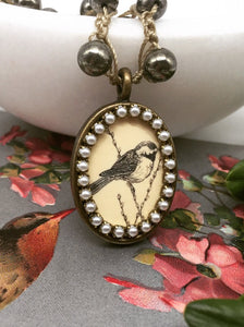 Vintage Etched Bird Necklace with Hand-Stitched Pyrite Stone Chain