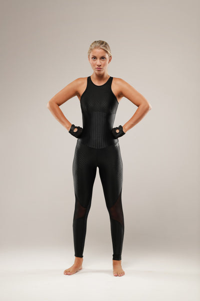 This sexy black bodysuit with mesh panels on the legs is perfect for all your fitness requirements. Supportive, breathable and comfortably molds to your body, it has the flexibility to go where ever you go.... from that high impact dance class to that perfect stretch on the yoga mat.