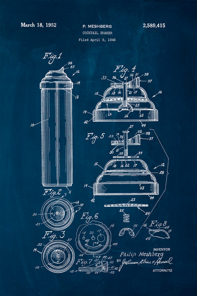"Vintage Patent Reproduction ""Cocktail Shaker"""