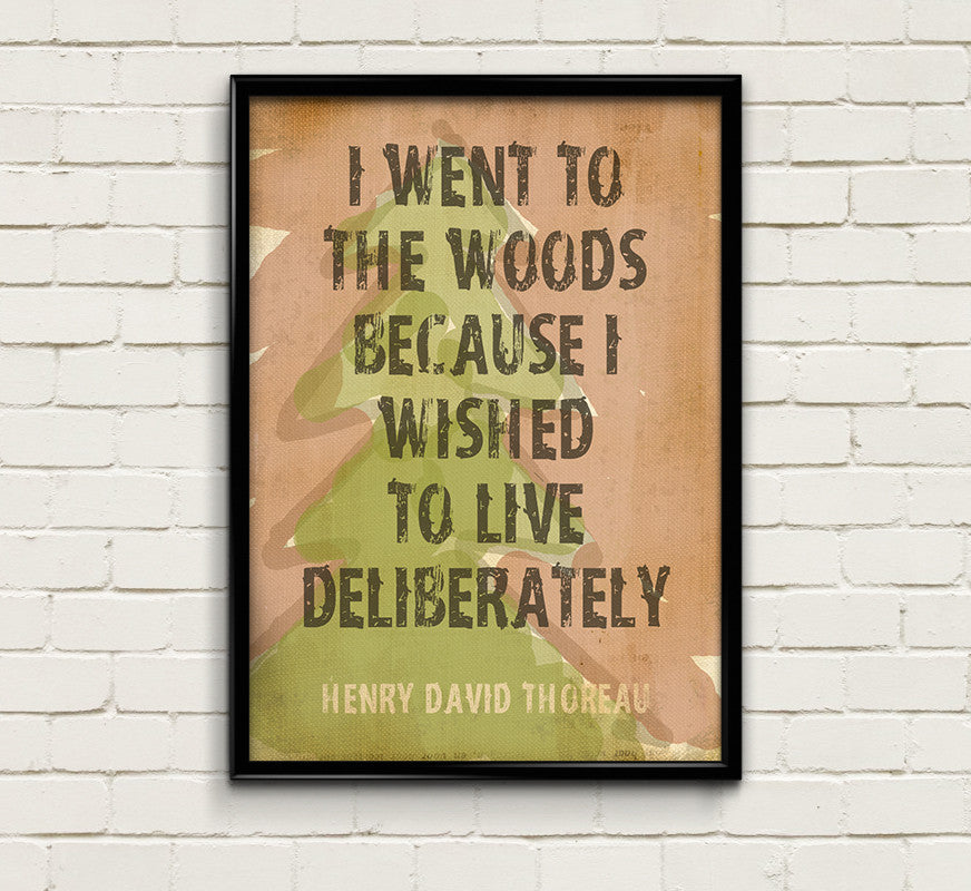 "Outdoor Decor ""I Went To The Woods"" Walden Inspirational Quote by Thoreau Print Motivational Art Home Decor Wall Decor Wall Art Print"