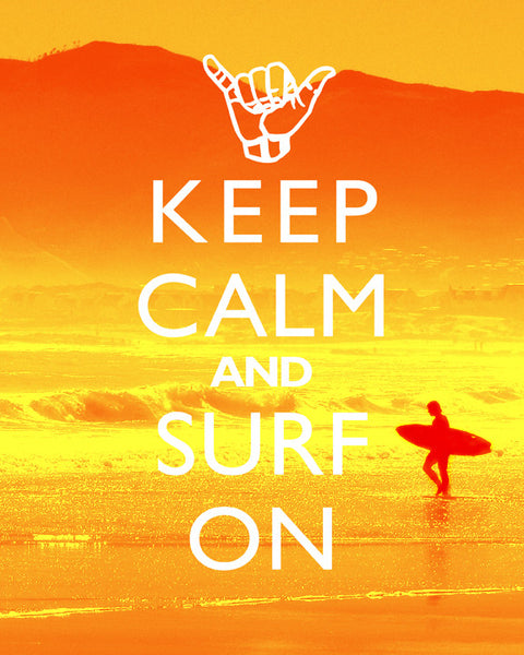 "Beach Decor Art Print ""Keep Calm And Surf On"" Surfer Decor Poster Surfing Decor"