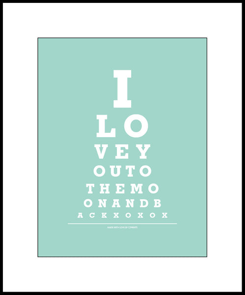 "Wall Decor ""I Love You To The Moon And Back"" Eye Exam Chart Print"