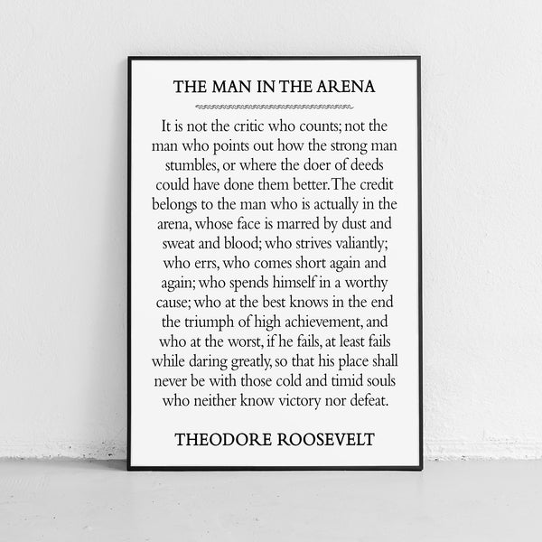 "Roosevelt Quote ""The Man in the Arena"" Print or Poster"
