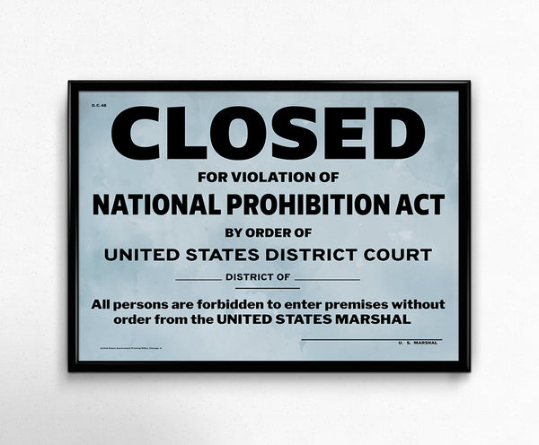 US Government Prohibition Poster Reproduction