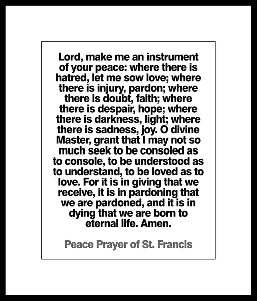 """Peace Prayer"" Poster or Print by Saint Francis of Assisi"